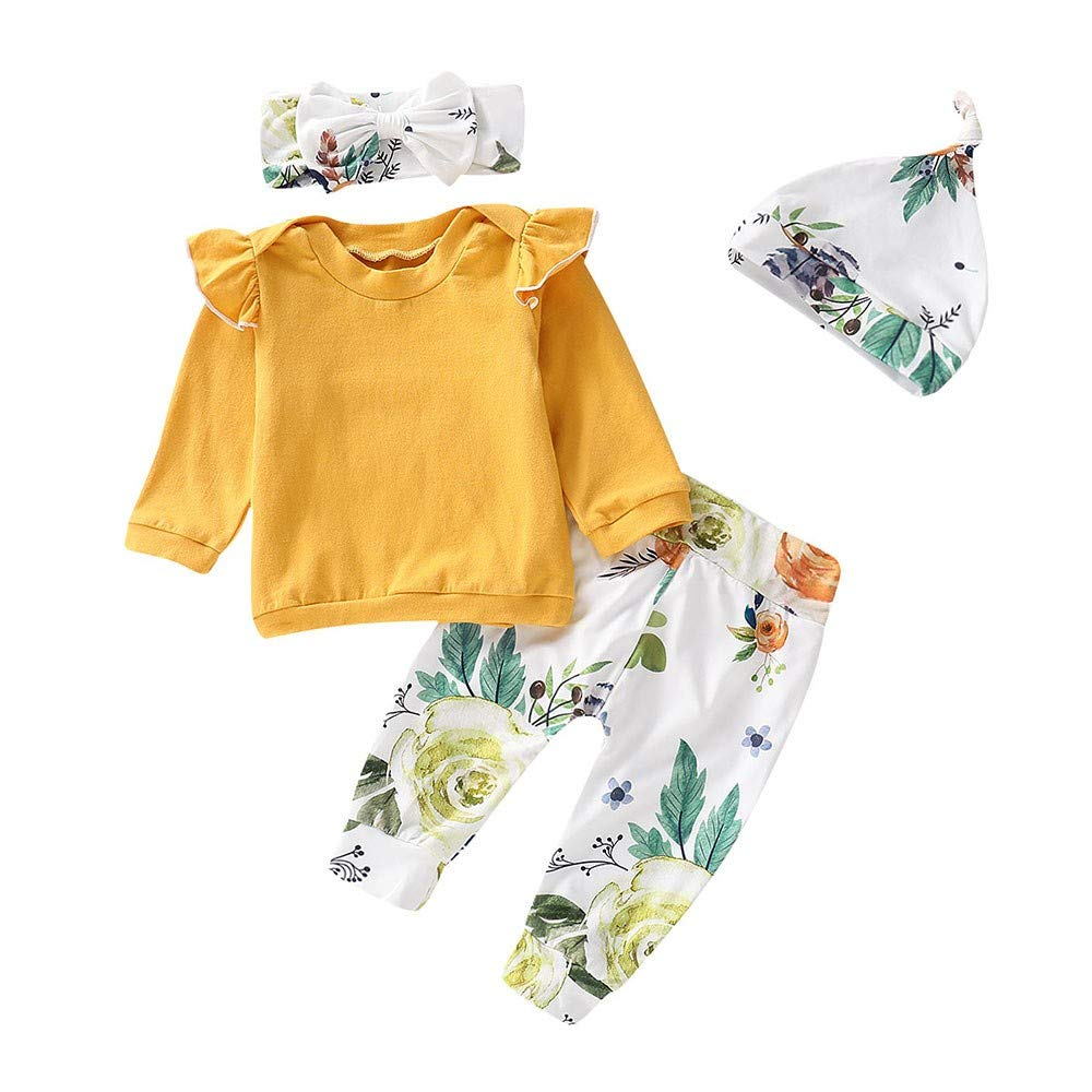 4PCS Toddler Baby Girls Floral Print Top Pants Cap Headband Ruffles Outfits Set Baby Long Sleeve T-shirt + Trousers + Hat + Headband Suit Clothes For Children Toddler Baby Girl Kid (Yellow, 18-24M)