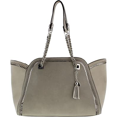 Jessica Simpson Womens Hazel Faux Leather Perforated Shopper Handbag Gray  Large  Handbags  Amazon.com 1eaf8f2f57c90