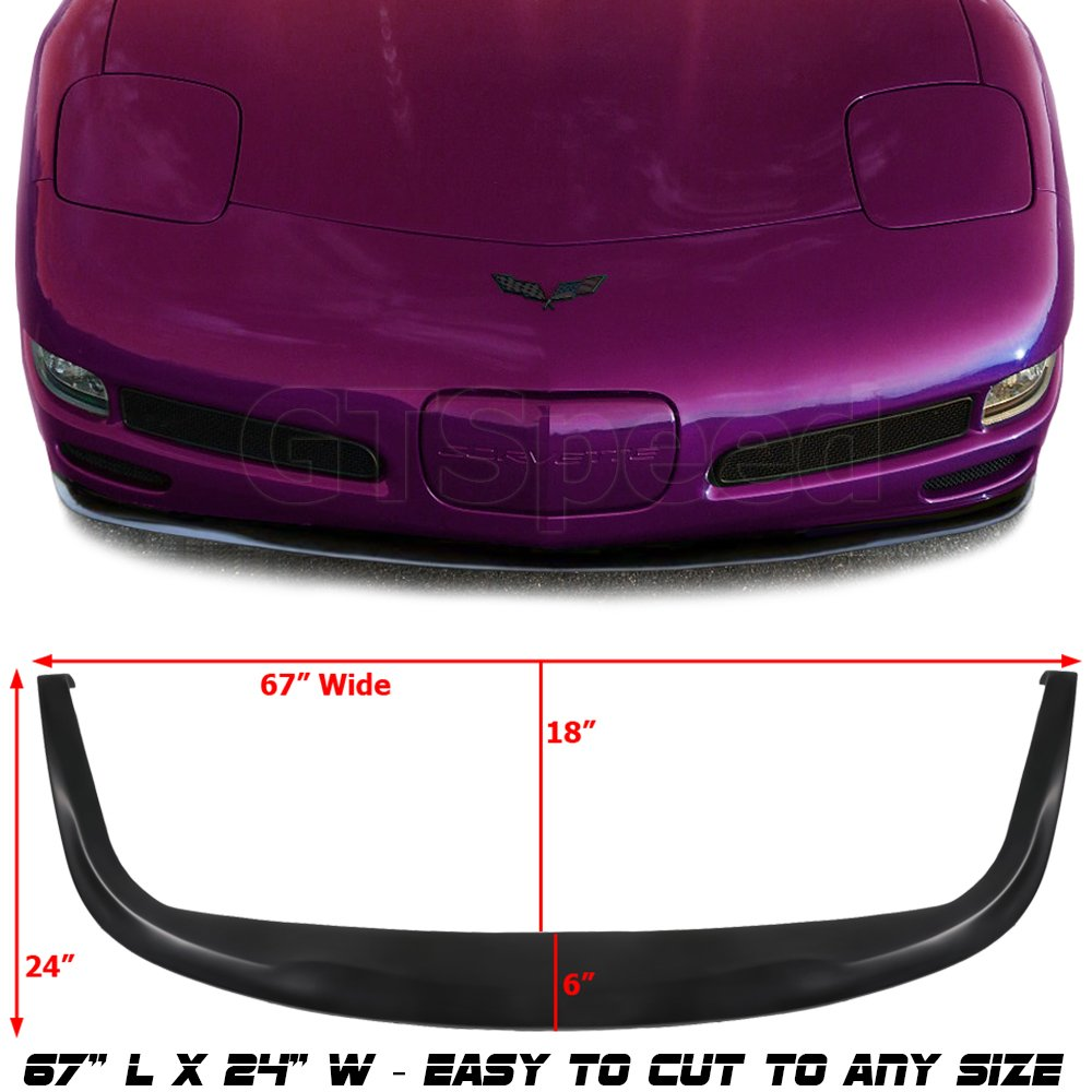 GT-Speed made for 1997-2004 Chevrolet Chevy Corvette C5 CS Style PU Front Bumper Add on Lip Flat Splitter Plate Under Panel
