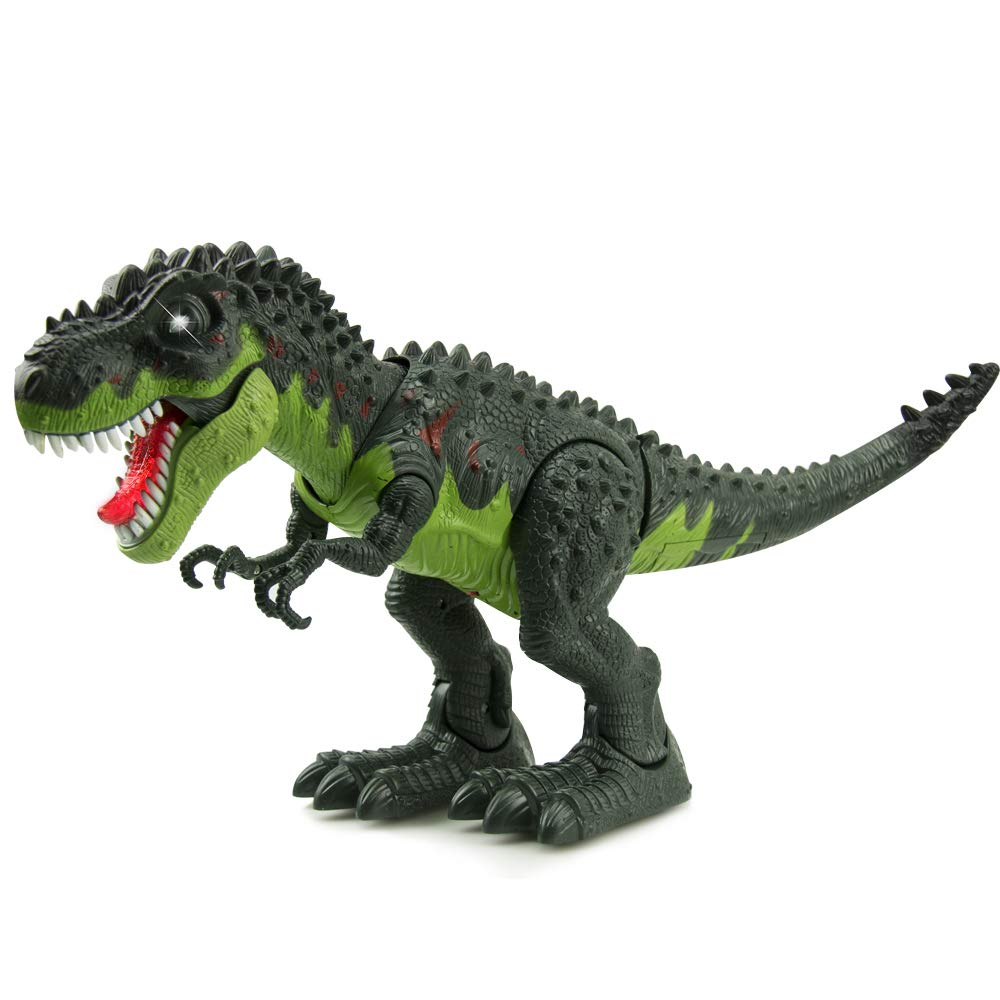 WonderPlay Walking Dinosaur T-Rex Toy Figure with Lights and Sounds Realistic Tyrannosaurus Dinosaur Toys for Kids Battery Operated Color May Vary (Green)
