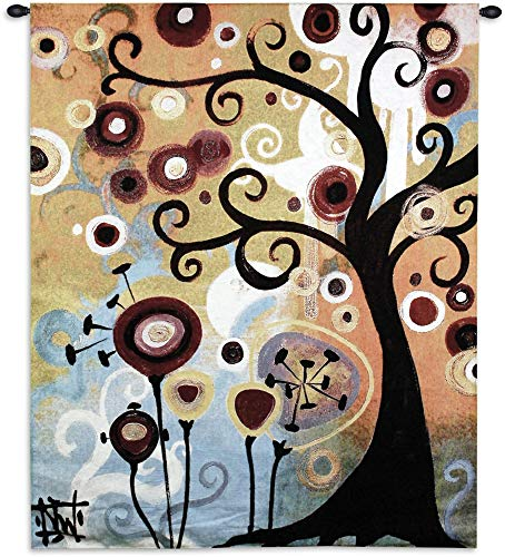 June Tree by Natasha Wescoat | Woven Tapestry Wall Art Hanging | Contemporary Tree of Life Botanical Pop Artwork | 100% Cotton USA Size 53x43