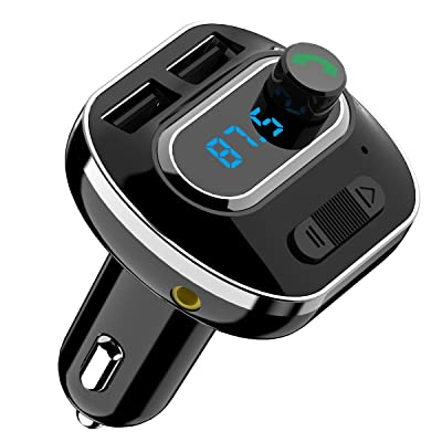 (Upgraded Version) Bluetooth FM Transmitter for Car, Wireless Radio Transmitter Car Adapter, with Dual USB Charging Port, Quick Charge 3.0, Music Player Support Aux Output, Hands-Free Call