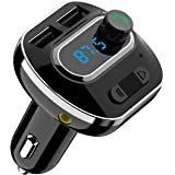 Criacr Bluetooth FM Transmitter, Wireless Audio Recevier, Car Kit with Phone Holder Radio Adapter, USB Car Charger with Fast Charging Port, AUX Input for All Smartphones (3 in 1)