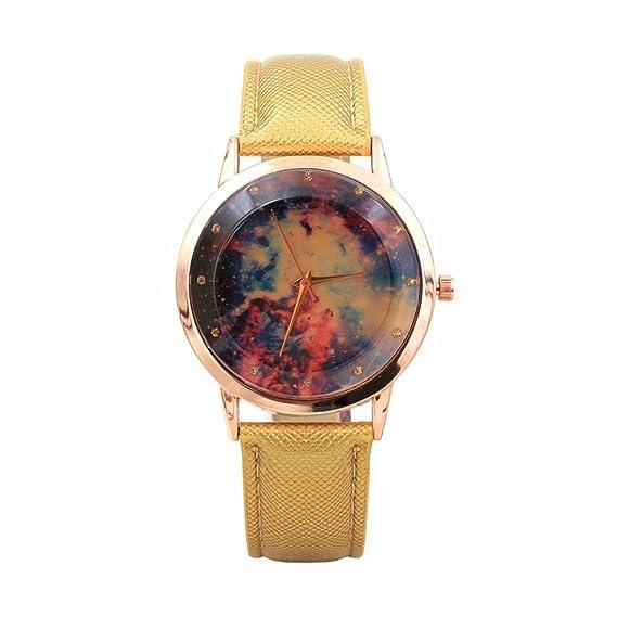 Relojes Mujer, Magiyard Correa de cuero Digital Dial Cuero banda cuarzo relojes analógicos (Amarillo): Amazon.es: Relojes