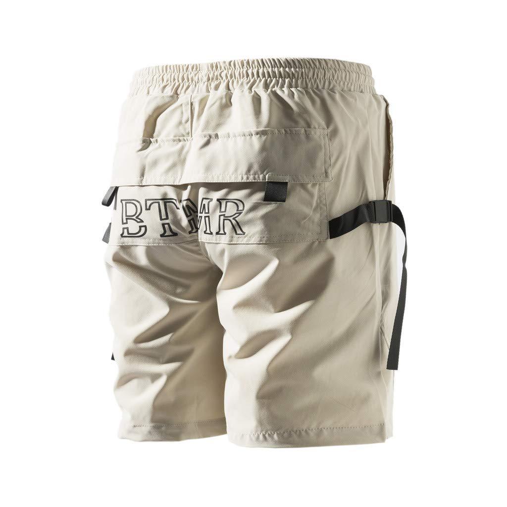2019 Nouveau iCerber Nouvelle Mode Pantalon Temp/éRament pour Hommes D/éT/é Extraordinaire Unique Combinaisons De Poche De Couleur Unie Hommes De La Mode Vent Salopette Shorts