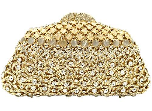 Clutch Damen Abendtasche Handtasche Kristall Abend Handtaschen Diamant Unterarmtasche Hochzeit Party Glitzer Tasche Luxus Gold
