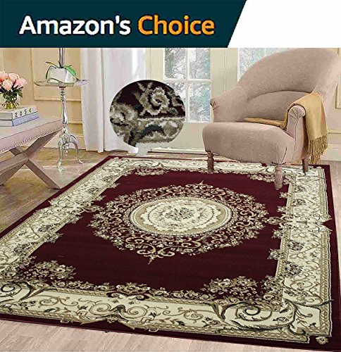 Burgundy Sepia Beige Elegance Persian Floral Oriental Tabriz Classic Traditional Versace Paisley Decorative Designer Area Rug 8x10 Easy to Clean Stain Resistant Shed Free Living Room - Online Versace Shop