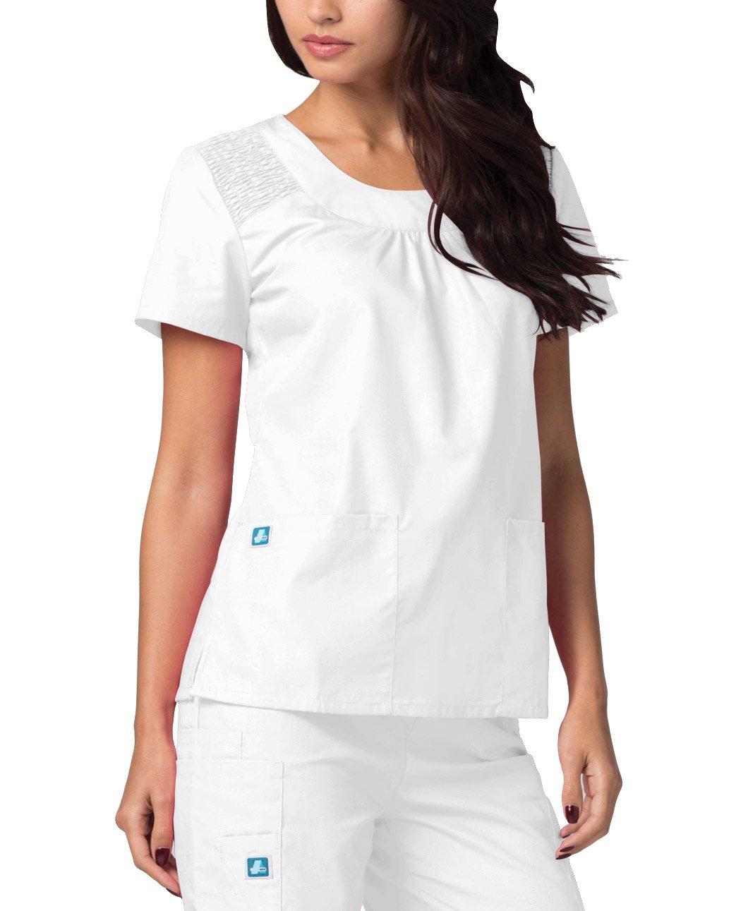ADAR UNIFORMS Adar Medical Women's Scoop Neck Smocked Solid Top - 627 - White - 2X