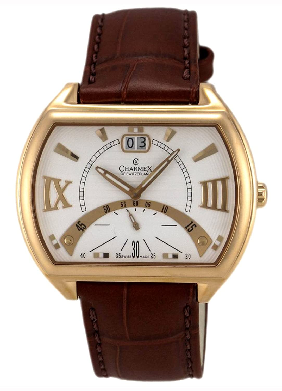 Charmex of Switzerland Monte Carlo Rose Gold Plated Steel Mens Watch White Dial 2330