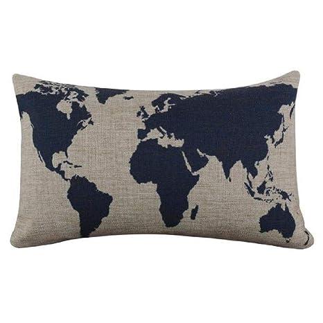 VJGOAL Lino de arpillera cómodo Mapa del Mundo Azul Oscuro ...