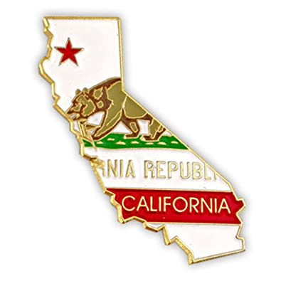 PinMart State Shape of California and California Flag Lapel Pin