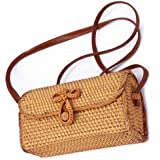New Rattan Bag for Women, Natural Handmade Woven Purse Handbags Straw Shoulder Crossbody Bag Boho Bag Bali (New Rattan…