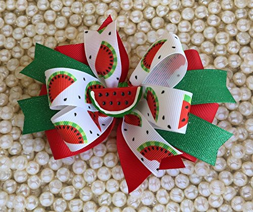 Watermelon Bow - Watermelon hairbow - Girls Bow - Girls Hairbow - Toddler Bow - Kids Hairbow - Fruit Bow - One in a Melon