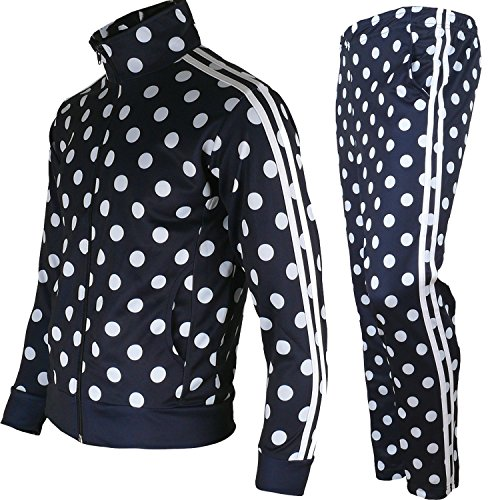 myglory77mall Men's Running Jogging Track Suit Jacket and Pants Warm Up Pants Gym Training Wear (L US(2XL Asian Tag), Navy Dot)