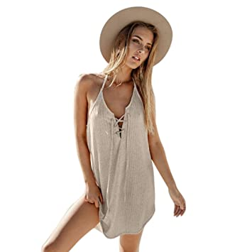 740e2050eb5 Janly Dress Plus Size Women s Sexy Bandage Shor Dress Tops Girls Summer  Loose Casual Backless Dresses