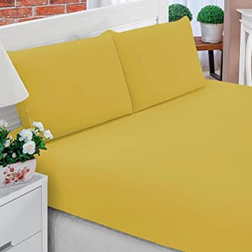 a920d74d28 Jogo de Lençol Casal Padrão Liso Pati 03 Peças Tecido Microfibra - Amarelo