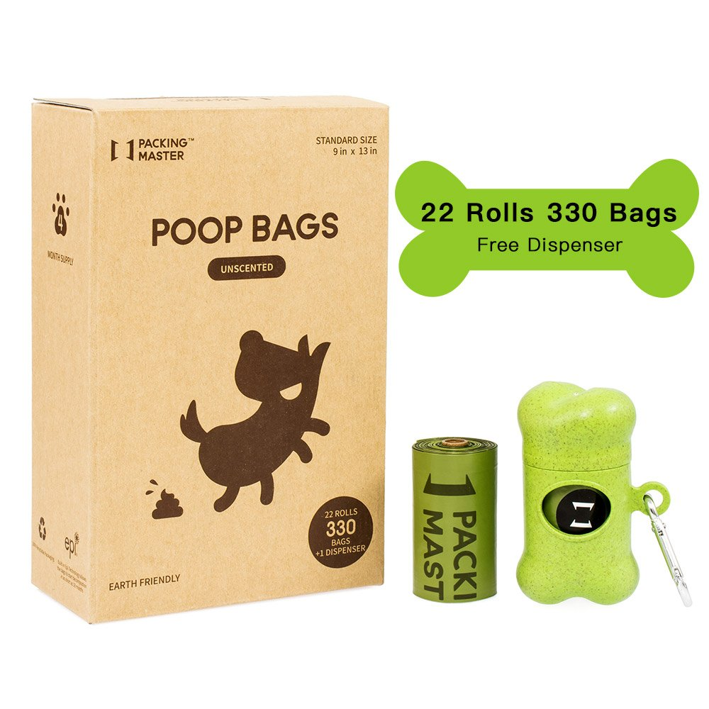 PackingMaster Poop Bag Biodegradable Dog Waste Bags Pet Waste Bags with Dispenser 9x13 Inch (22 Rolls/330 Bags, Unscented)