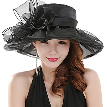 58dbabacda9 Amazon.com  Everyday Women s Fashion Summer Derby Cap Tea Party Wedding Hat  (Black)  Sports   Outdoors