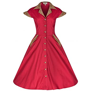 947cb3f9a63f Image Unavailable. Image not available for. Colour: Lindy Bop 'Jeanette'  Vintage 1950's Rockabilly Pinup Shirt Dress ...