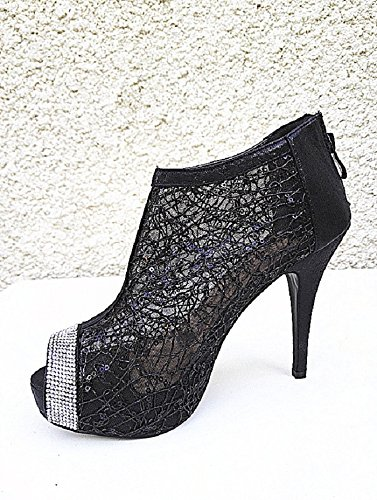 escarpins femme chaussure L plateforme Sandales 565 strasse a NOIR dentelle talon gAItq