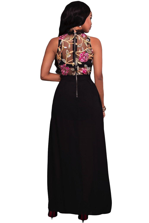 Helana's Secret Womens New Sheer Mesh Embroidery Chiffon Romper Maxi Dress  Sizes 6-14: Amazon.co.uk: Clothing