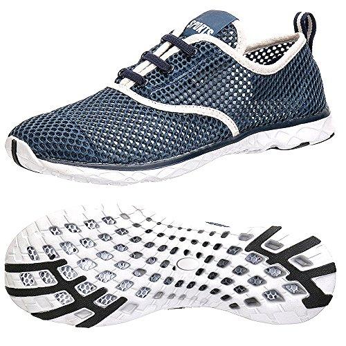 Womens Adult Water Shoes Summer Beach Running Shoes Quick Dry Walking Sandals Swim Sneakers Yoga Footwear Sport Breathable Mesh Slip On Athletic Water Shoes for Ladies Size 5 6 Blue
