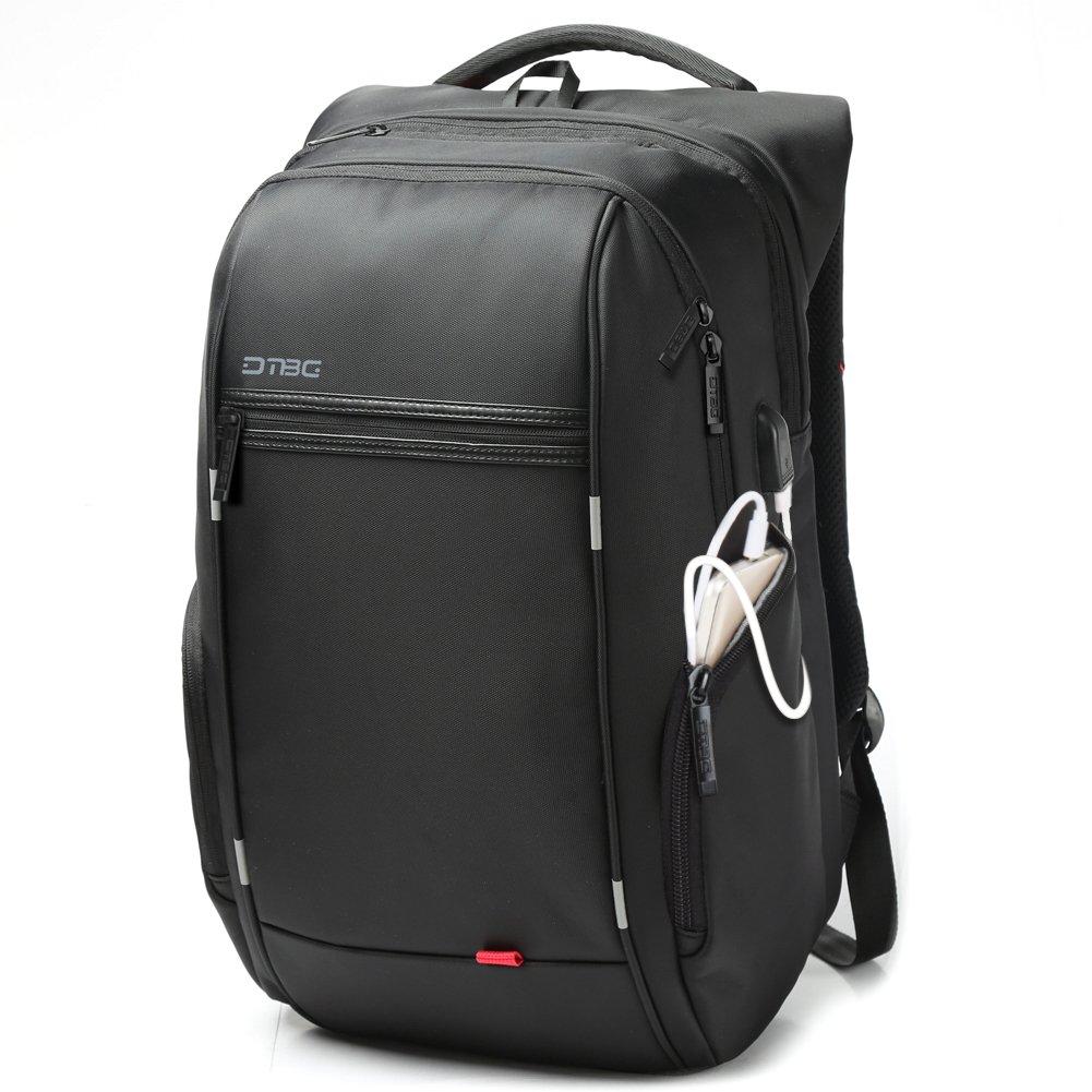 Laptop Backpack with USB Charging Port,DTBG 17 Inch Stylish Water Resistant Laptop Rucksack College Shoulder Back Pack Business Travel Bag Knapsack Fits Up to 17.3 Inch Laptop Notebook Computer,Black