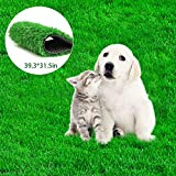 Fortune-star 39.3in X 31.5in Artificial Grass Dog Grass Mat and Grass Doormat Indoor Outdoor Rug Drainage Holes Fake Grass Turf for Dogs Potty Training Area Patio Lawn Decoration