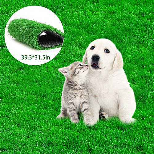 Fortune-star 39.3in X 31.5in Artificial Grass Dog Grass Mat and Grass Doormat Indoor Outdoor Rug Drainage Holes Fake Grass Turf for Dogs Potty Training Area Patio Lawn Decoration ()