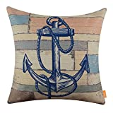 LINKWELL 18x18 inches Wood Slat Sea Blue Anchor Burlap Throw Accent Pillow Cover Cushion Cover (CC1364)