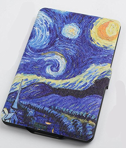 Kindle Paperwhite 1/2/3 Protective Case - with Vertical Flip Auto Sleep/Wake (Van Gogh Starry Night Design) by Creanoso