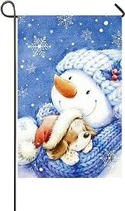 """Rossne G sun Winter Warm Dog Sleeping In The Snowman's Hug Garden Flag House Flag Decoration Double Sided Flag 12.5"""" x 18"""""""