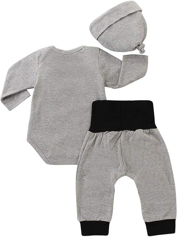 Hut Outfits Kleidung Grau Miyanuby Jungen Kleidung Sets Lange Hosen Neugeborenes Baby Outfit Set Langarm Strampler Einteiliger Body