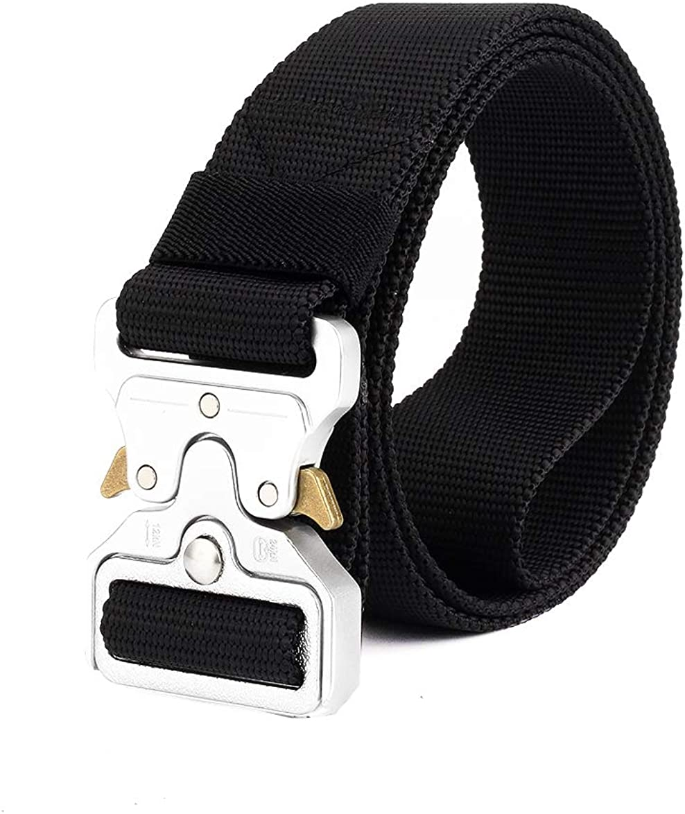 """Men's Tactical Belt Nylon Webbing Belt Military Style (30""""-64"""" Waist) Regular & Big and Tall with Quick-Release Metal Buckle"""