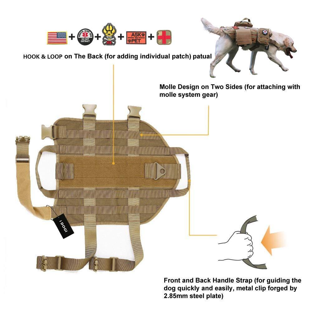7e6d5c72c929 Amazon.com   iDOGI Tactical Dog Molle Vest Harness Training Dog Vest with  Detachable Molle Pouches Pouches (Medium