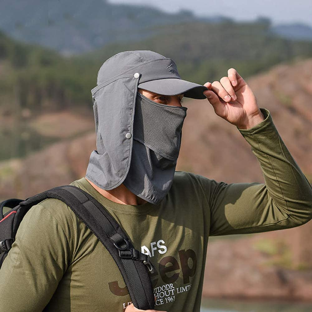 Panegy Casquette Anti UV Homme Chapeau de Soleil Respirant Hat /Ét/é P/êche Camping Randonn/ée Multifonction Protection Cou T/ête Nuque Visage Casquette /à Visi/ère /Étanche R/églable Tour de T/ête 5