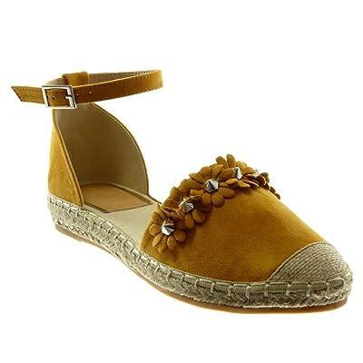 Angkorly Chaussure Mode Sandale Espadrille Lanière Cheville Femme Fleurs Clouté Corde Talon Bloc 3 cm
