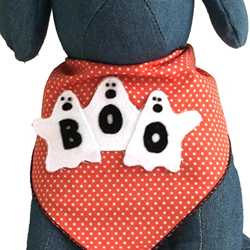 Halloween Dog Bandana with Ghost Boo! Applique 100% Cotton