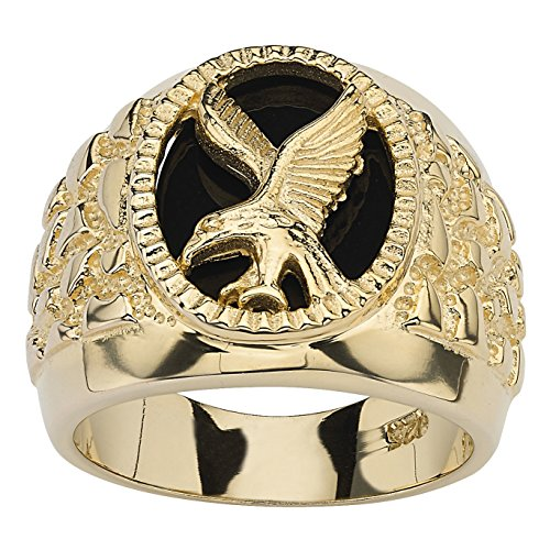 Men's 14K Yellow Gold over Sterling Silver Oval Cut Natural Black Onyx Eagle Ring 14k Yellow Gold Onyx Ring