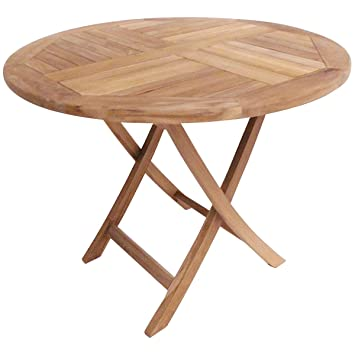 Charles Bentley Table Ronde de Jardin Pliable en Teck Massif