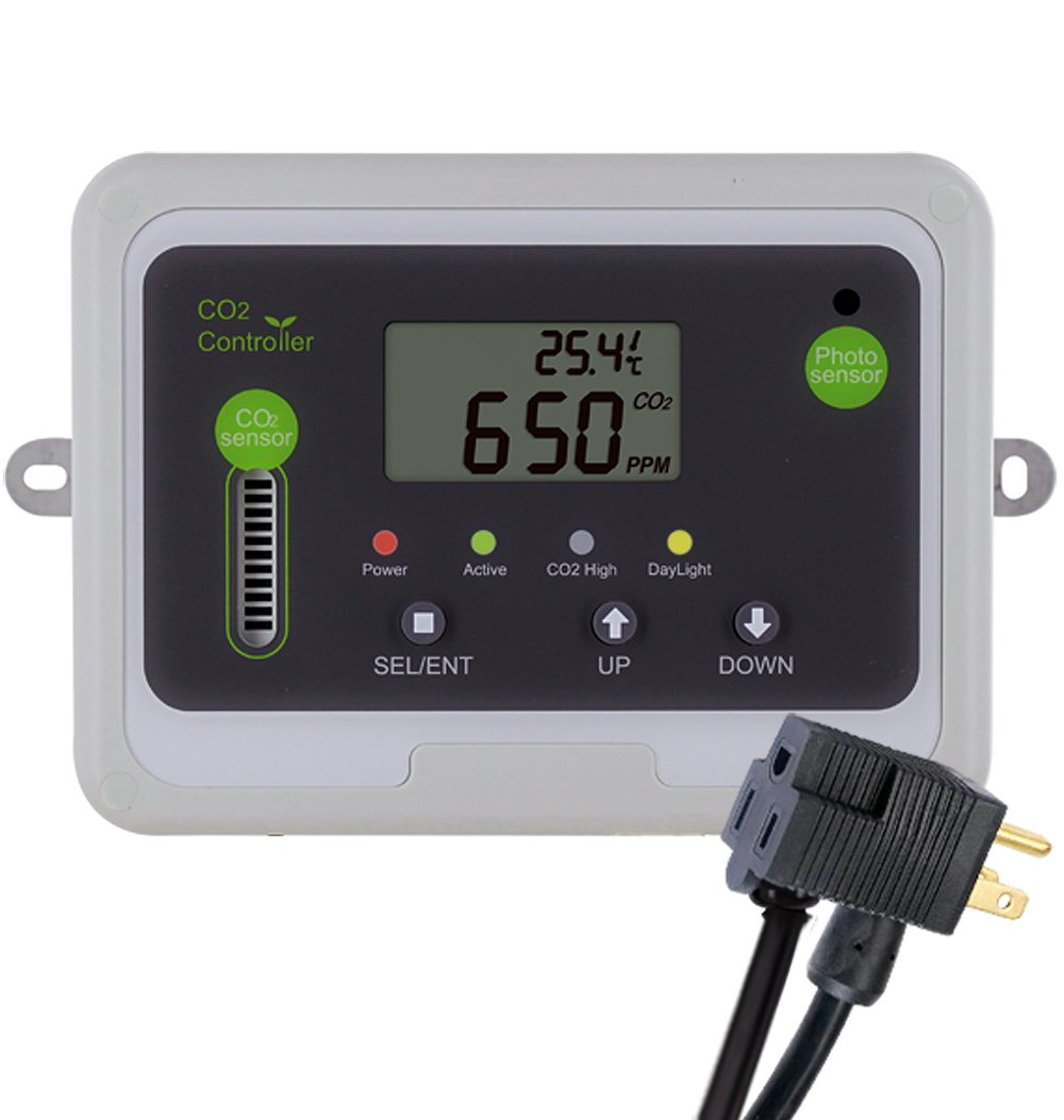 CO2Meter RAD-0501 Day Night CO2 Monitor and Controller for Greenhouses, Grey