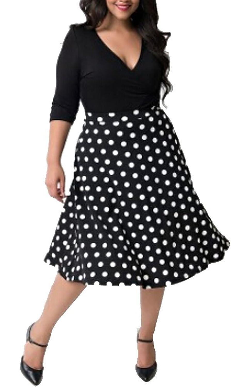 Brinny 50er Polka Dots Rockabilly Kleid Plus Size V-Ausschnitt ...