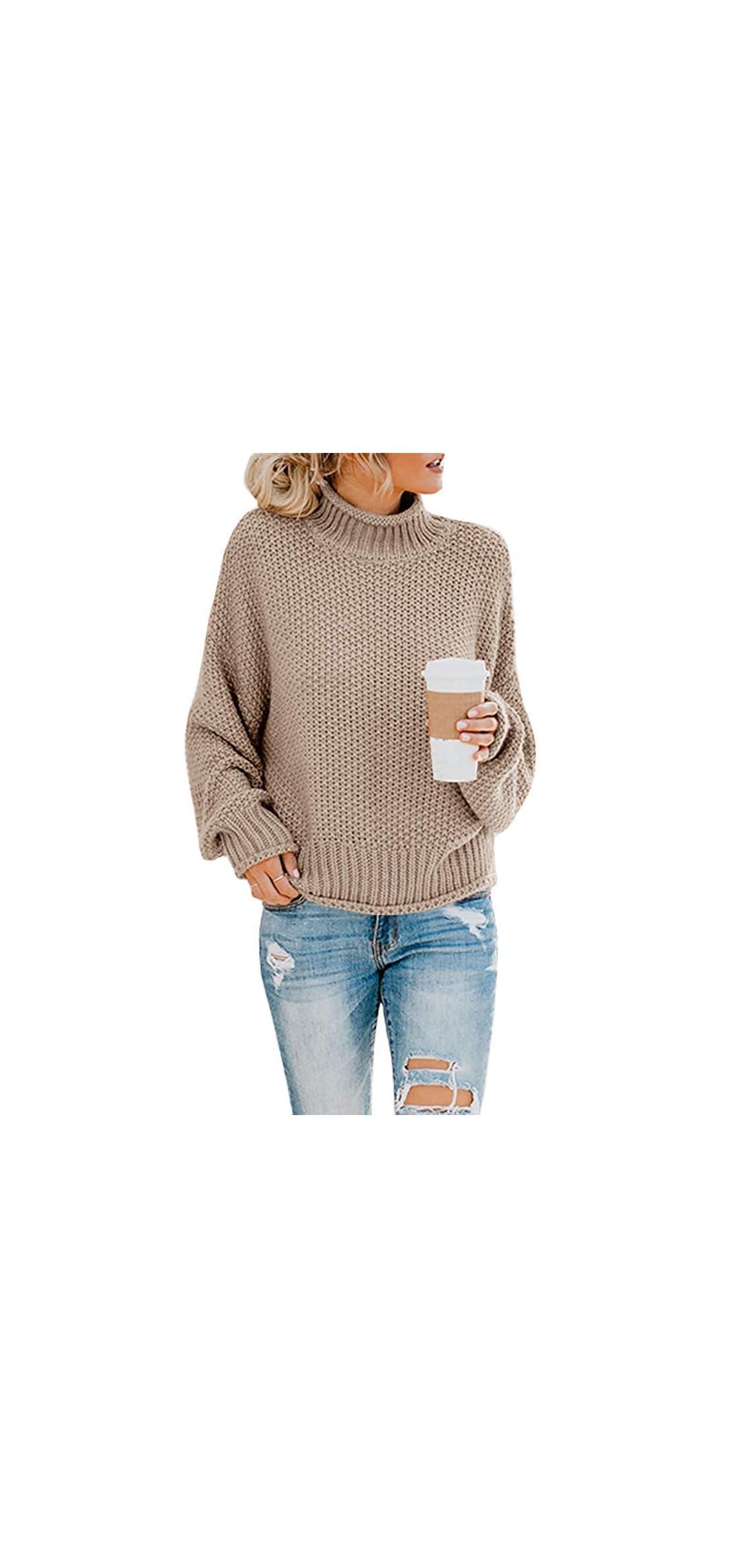 Womens Oversized Sweater Long Sleeve Loose Warm Chunky