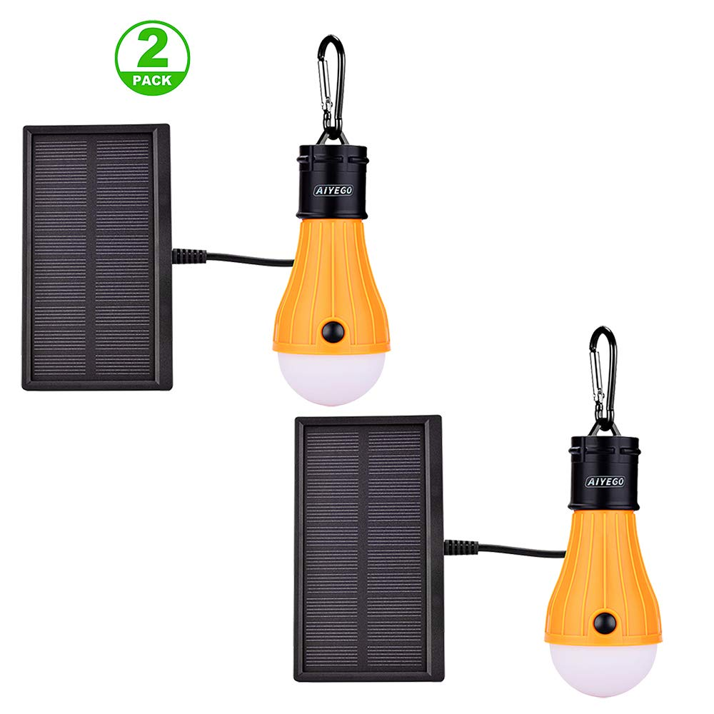 AIYEGO Portable Solar Lights Outdoor, Waterproof 165LM Dimmable Solar Light Bulb with 1000mAh 18650 Rechargeable Battery for Chicken Coop, Camping, Hiking, Tent etc. (Yellow-2 Pack) by AIYEGO