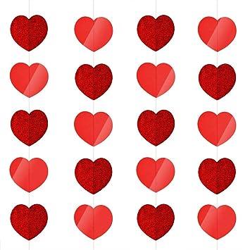 Kuuqa 5 Stuck Valentinstag Herz Girlande Herzform Hangende Schnur