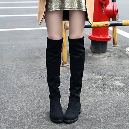 Warm Black Boots Casual Knee Women Long Comfortable Boots Flat Faux Winter BIGTREE Fur Suede Autumn High 4vZfa6xnn