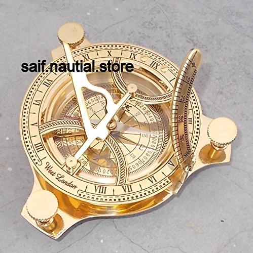 4インチ真鍮製日時計コンパス指向性Nauticalビンテージコンパス@   B07BFQQ7F6