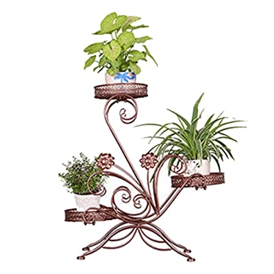 Pergolas Flower Stand Iron Flower Stand Wrought Floor Stand Living Room Pot Rack Multi-Room Room Built-in Rack Load Bearing 50kg Balcony Flower Rack (Color : Brown, Size : 646824cm): Garden & Outdoor