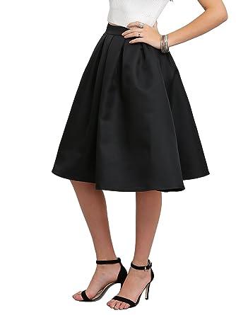 d0cd3a649a3 ROMWE Jupe Midi Vintage Évasée Taille Haute Swing Femme L Noir ...