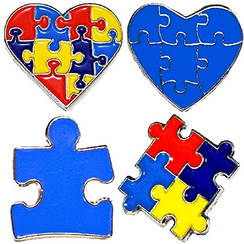 (4 Piece Set Autism Awareness Heart Colorful Puzzle Pieces Lapel Hat Pins)